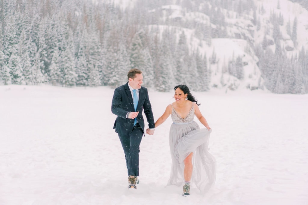 Colorado elopement in Rocky Mountain National Park in winter