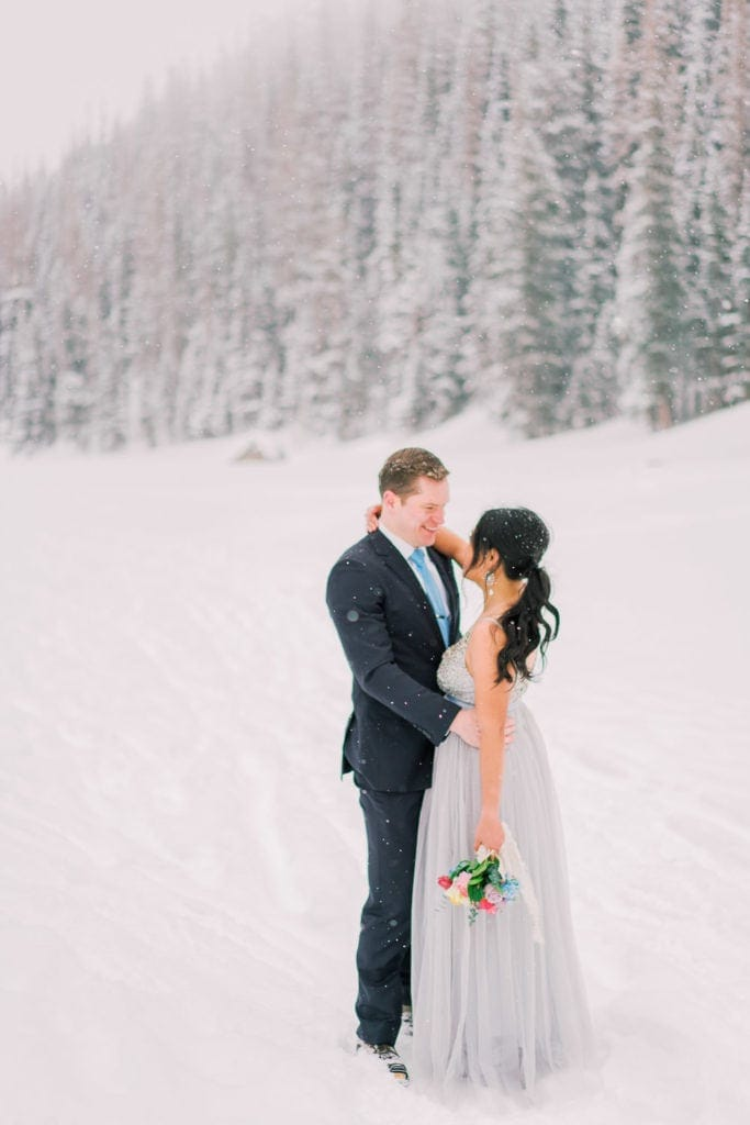 elopement in the snow in the winter in Colorado