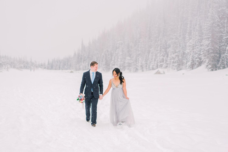 winter elopement photography in Estes Park