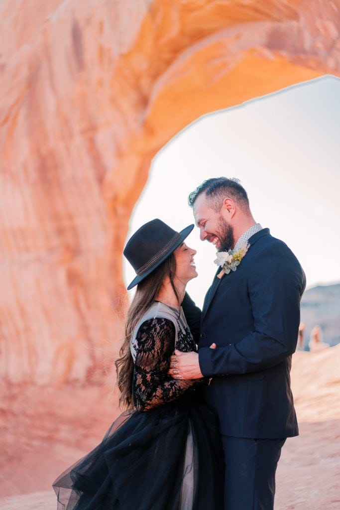 Moab, UT elopement under Wilson Arch