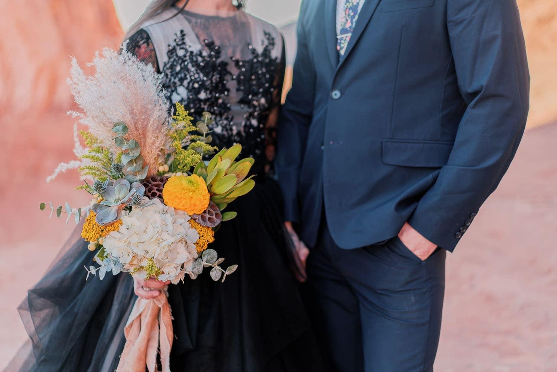 desert inspired bridal bouquet at an elopement in Moab, Utah