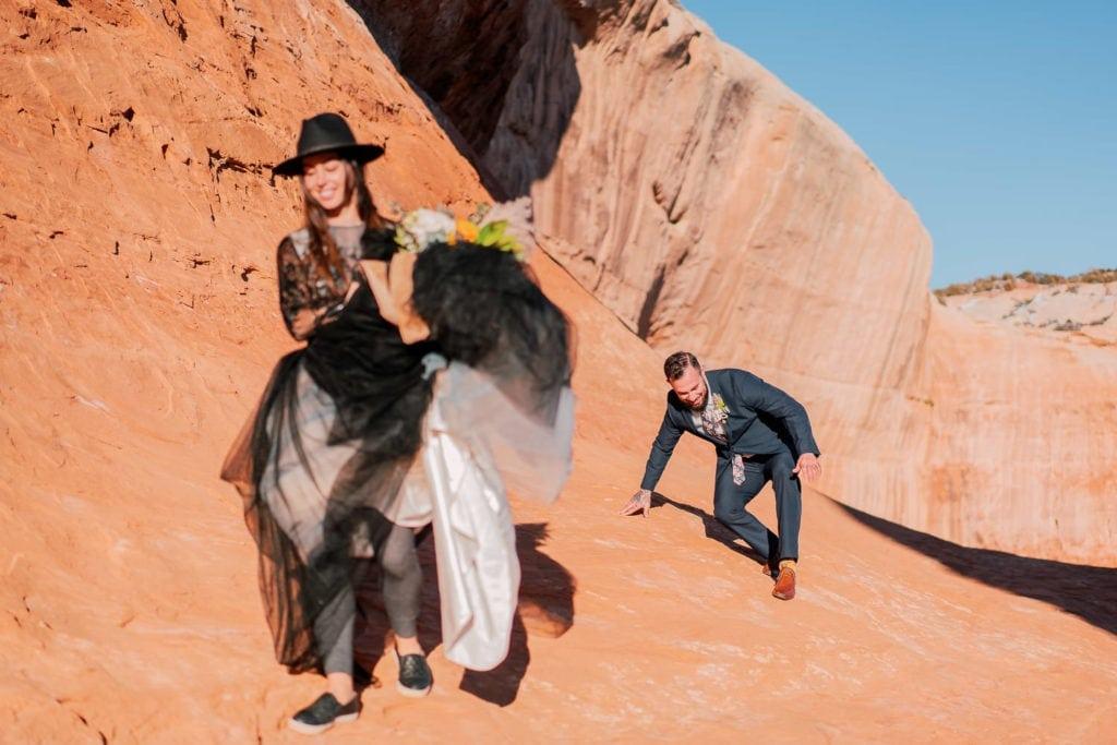 elopement in the desert in Moab, UT