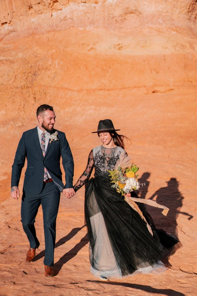 elopement photography at sunset in Moab, Utah