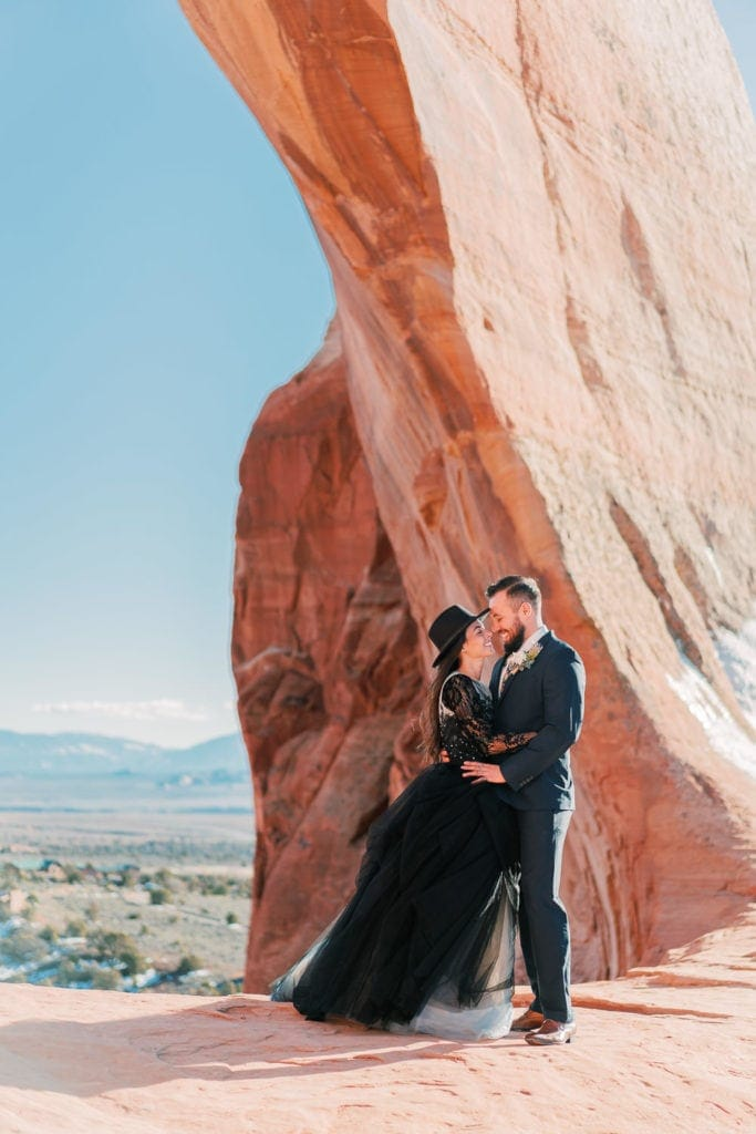 Arches National Park elopement photography under an arch