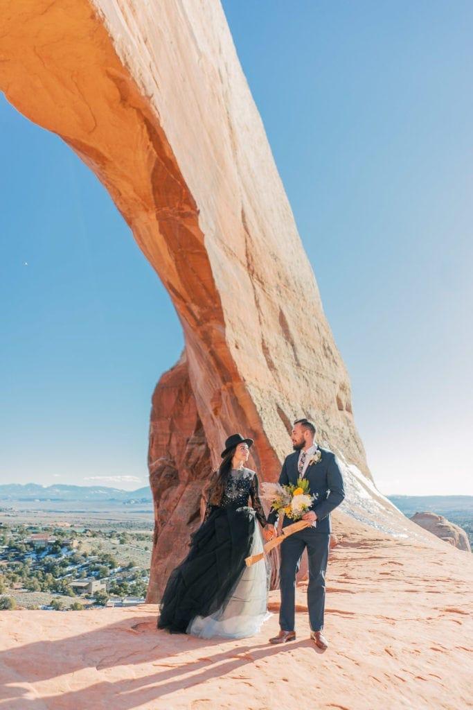 elopement at Wilson Arch in Moab, Utah