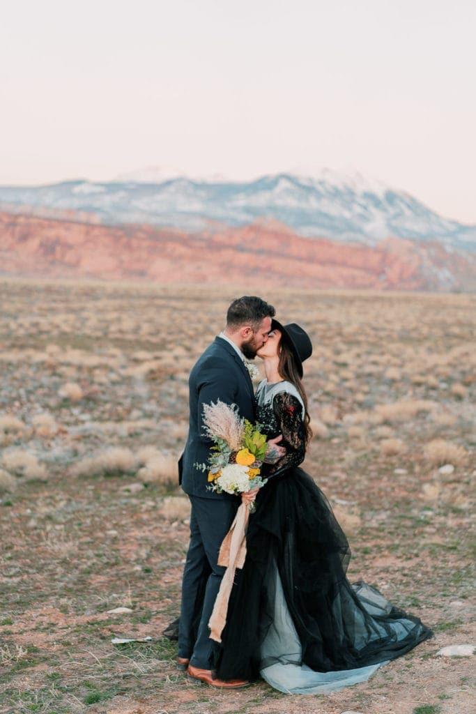 romantic elopement at sunset in Moab, Utah