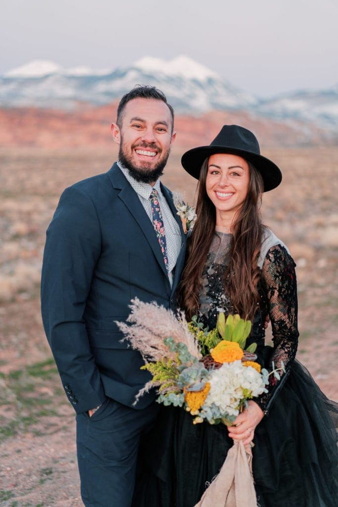 bride and groom portrait at an elopement in Moab, Utah