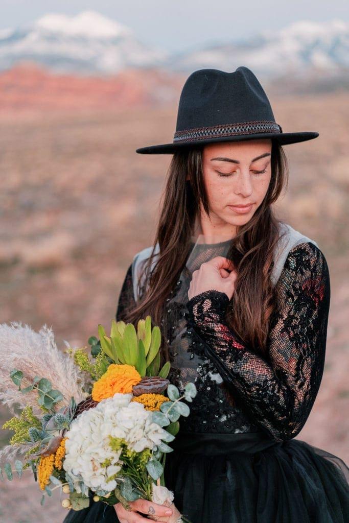 bridal portrait in Moab, Utah