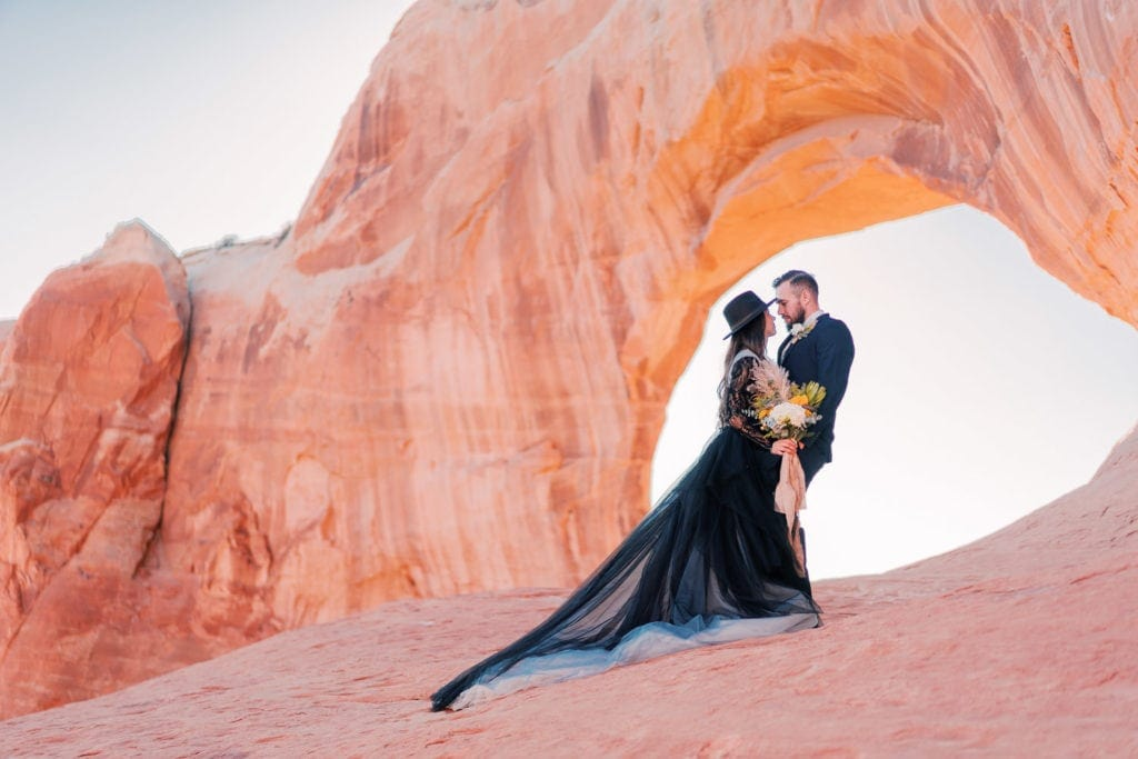black dress elopement photography in Moab, Utah