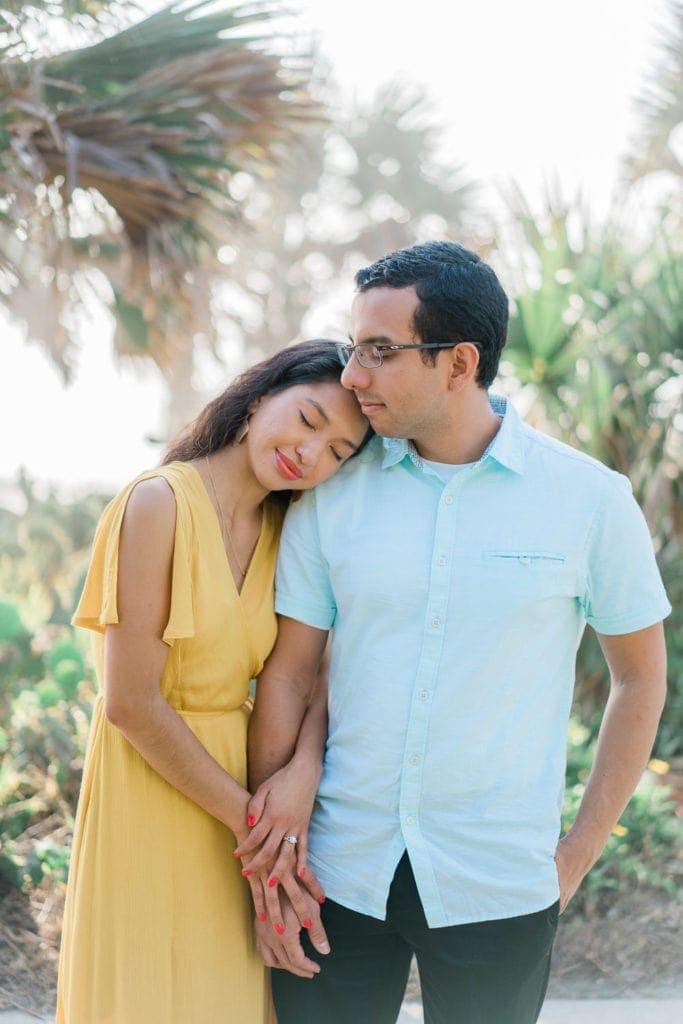 romantic engagement photos at the beach in Florida