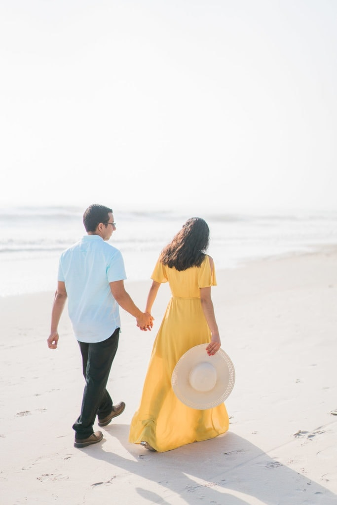 fun and colorful engagement photography at the beach in Florida
