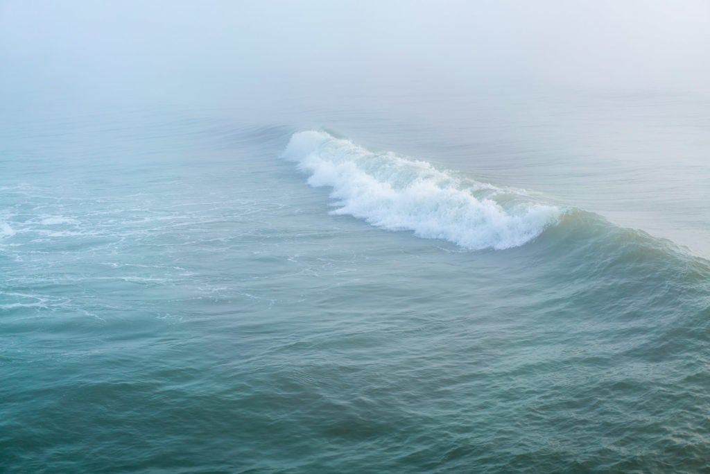 Print for sale: moody ocean in the early morning fog