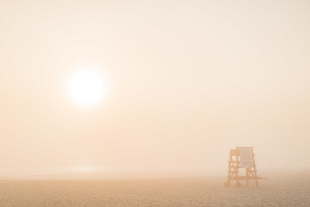 Print for sale: lifeguard stand at Daytona Beach in Florida in the early morning fog