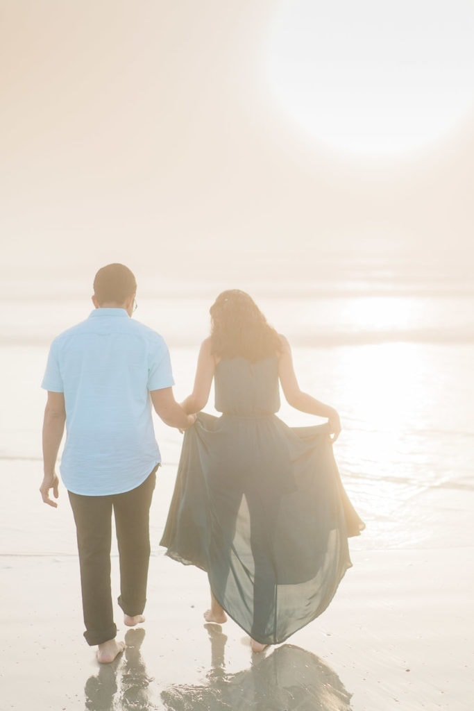 engagement photography in the fog at Daytona Beach in Florida