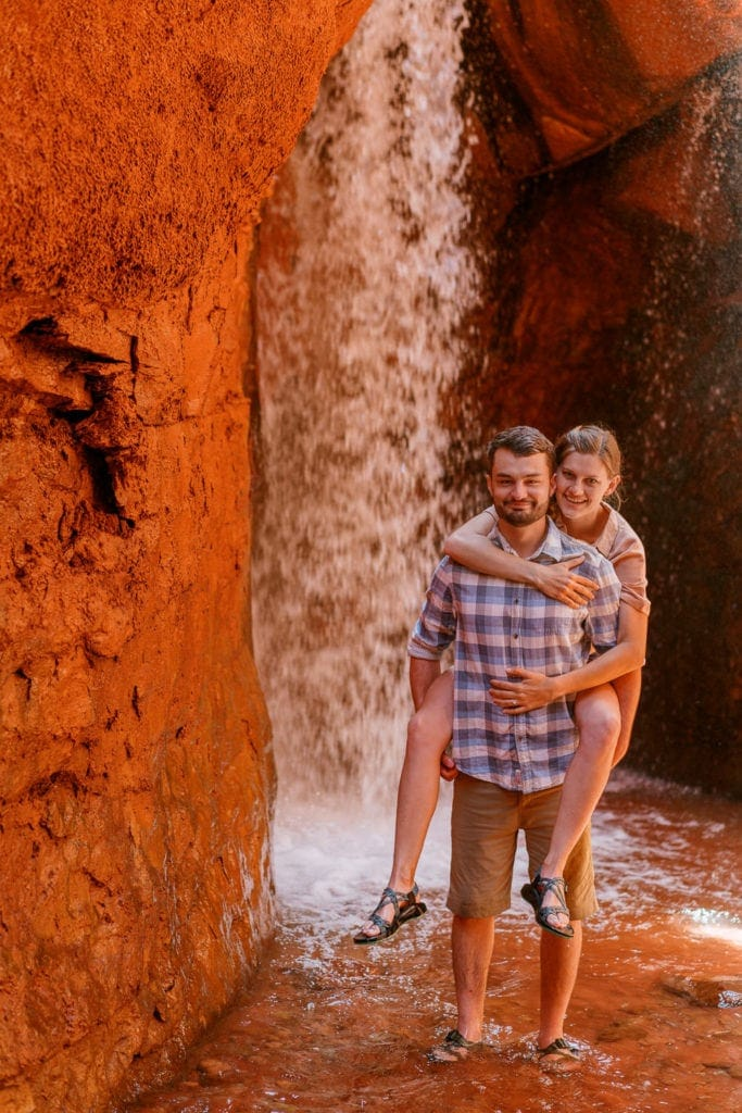 waterfall engagement photography session
