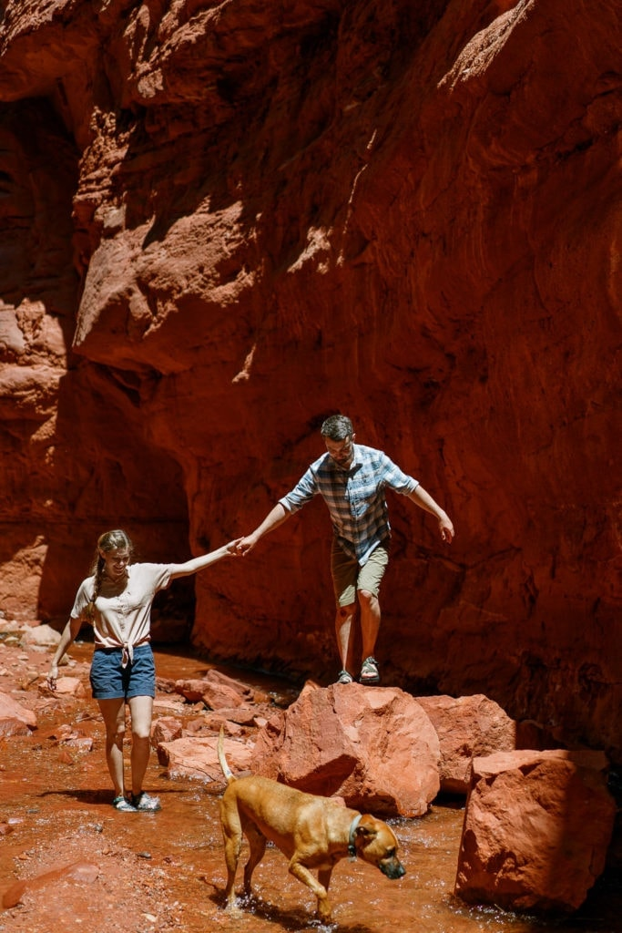 adventure session in Moab, Utah during an engagement