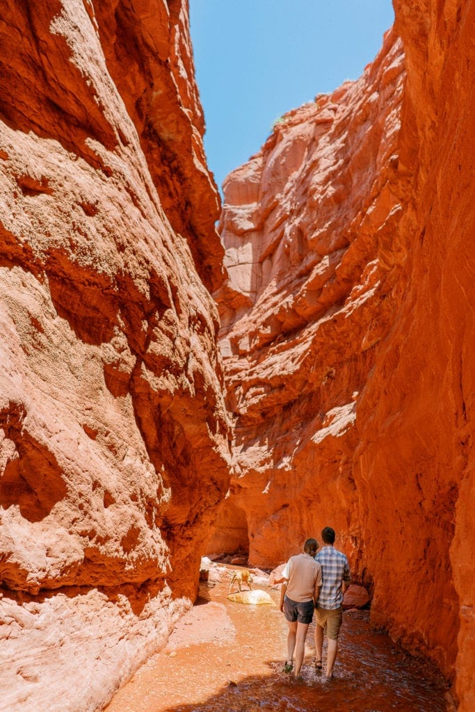 adventure session in a Moab, Utah slot canyon