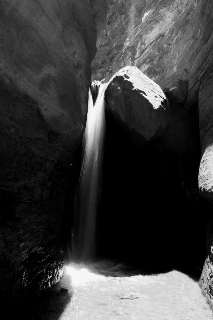 Print for sale: black and white photography of a waterfall in Moab, Utah