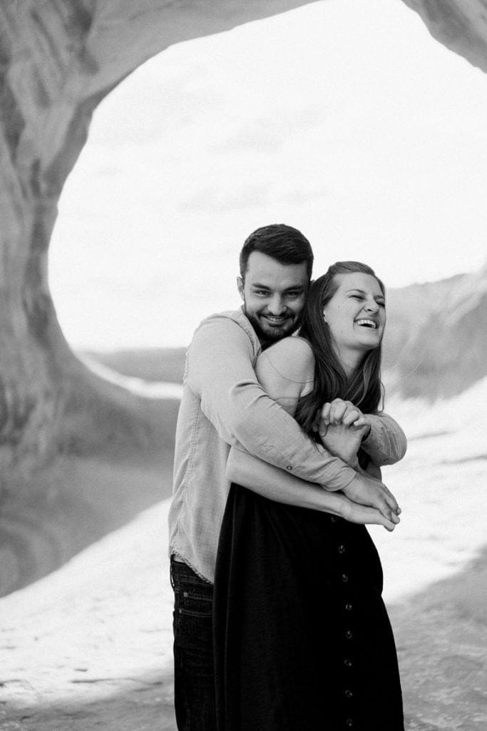 fun black and white engagement photography in Moab