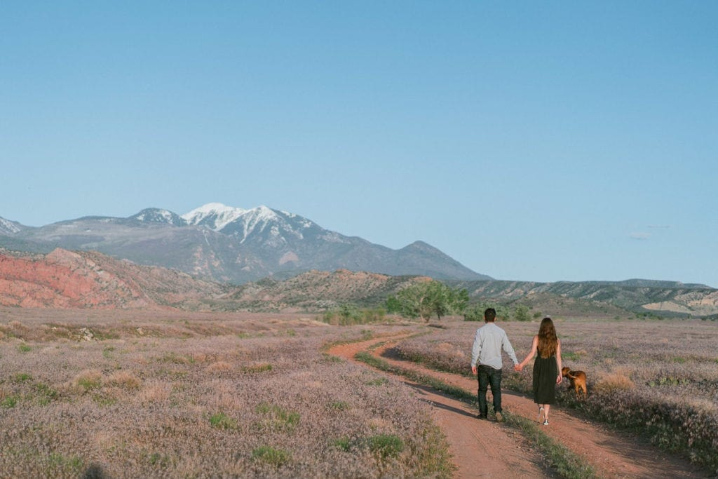 engagement photography near the Man-La Sal mountains of Moab