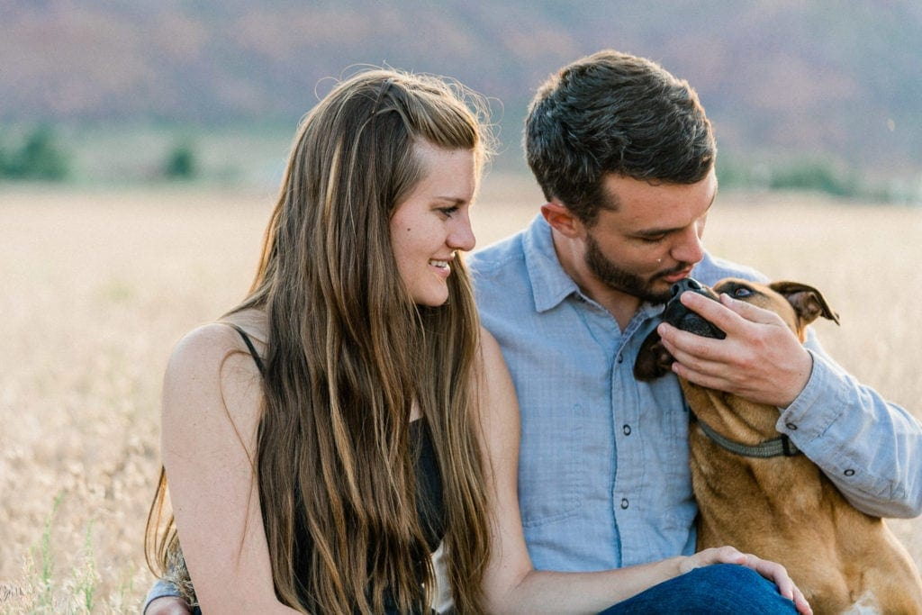 engagement photography in Moab with a dog