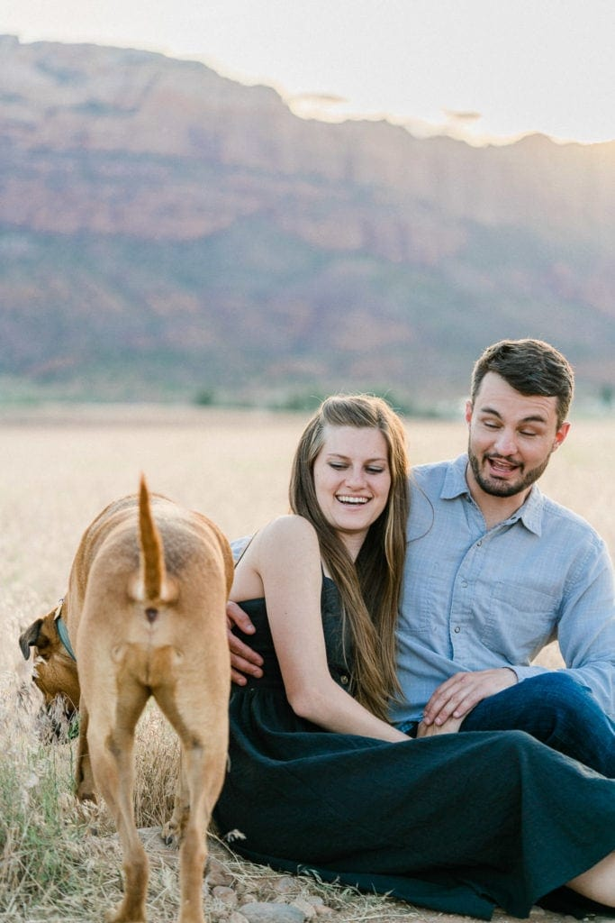 funny dog butt photo during an engagement session in Moab