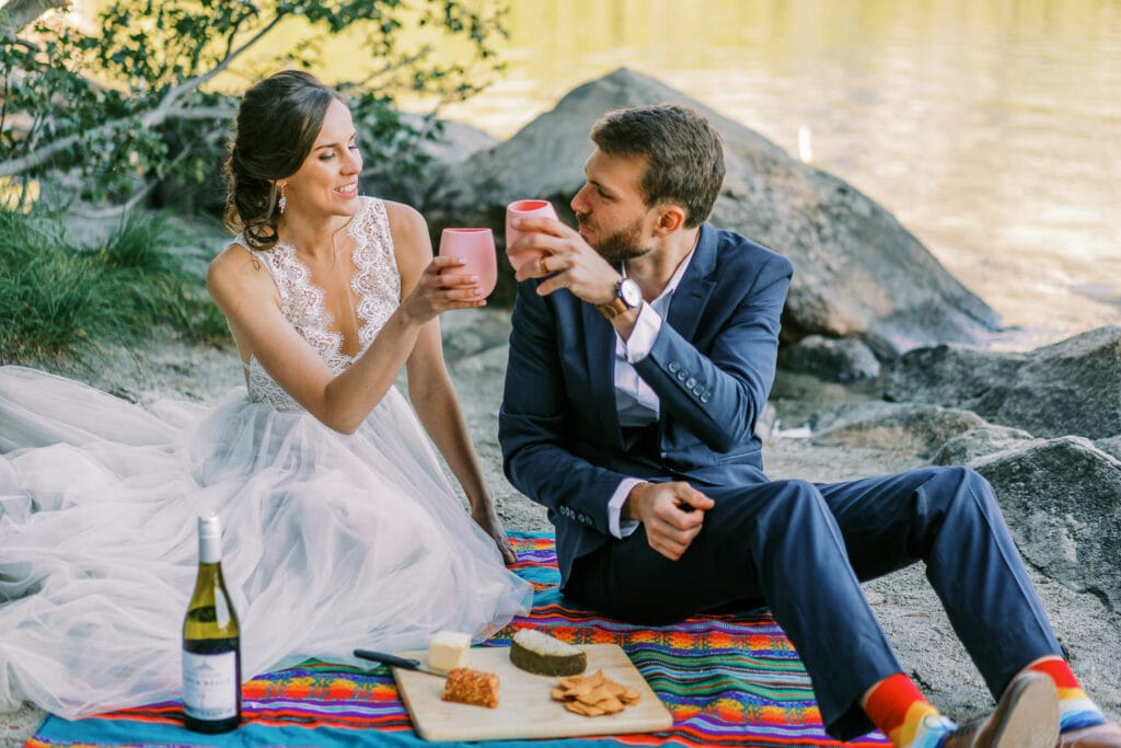 Bride and groom toast wine during their picnic at their elopement in the Grand Tetons.