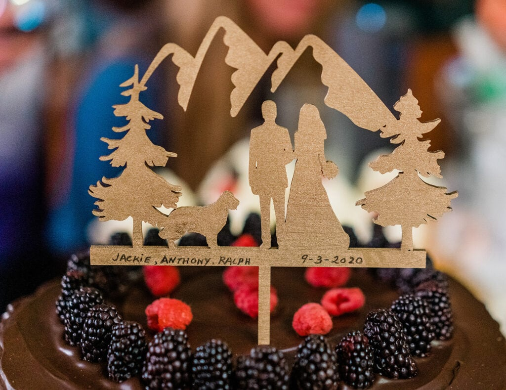A chocolate and berry wedding cake with a mountain elopement topper for decoration.