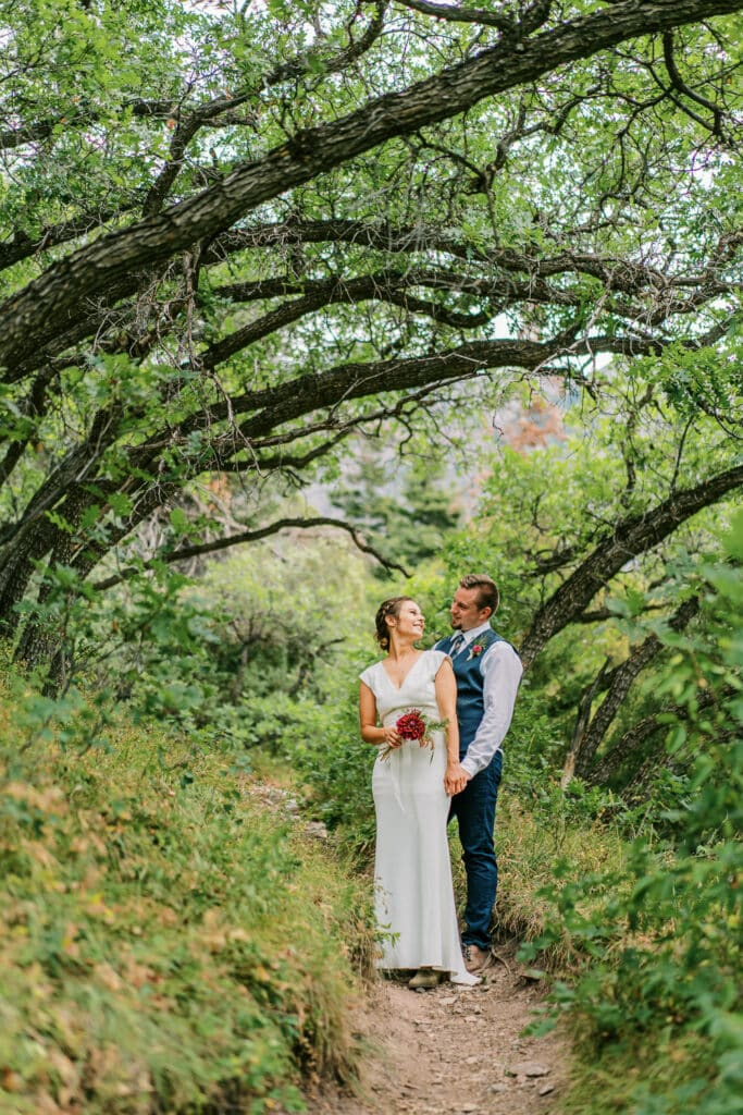 Bride and groom under a natural arch of trees in Colorado.