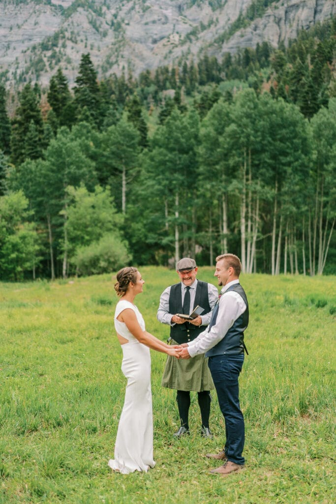 Bride and groom saying vows in Ouray, Colorado
