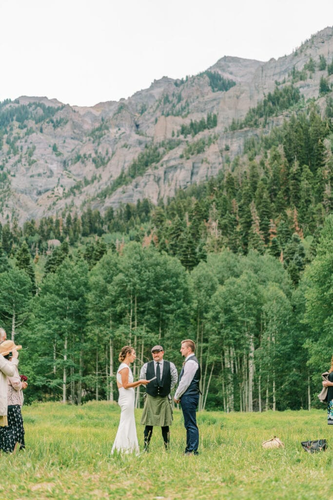 Wedding in the San Juan Mountains above Ouray, Colorado in a meadow.