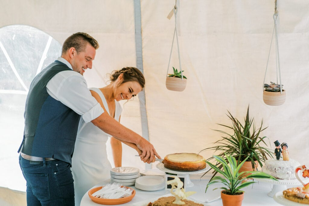 Bride and groom cutting a cheesecake at their outdoor tent wedding in Colorado.