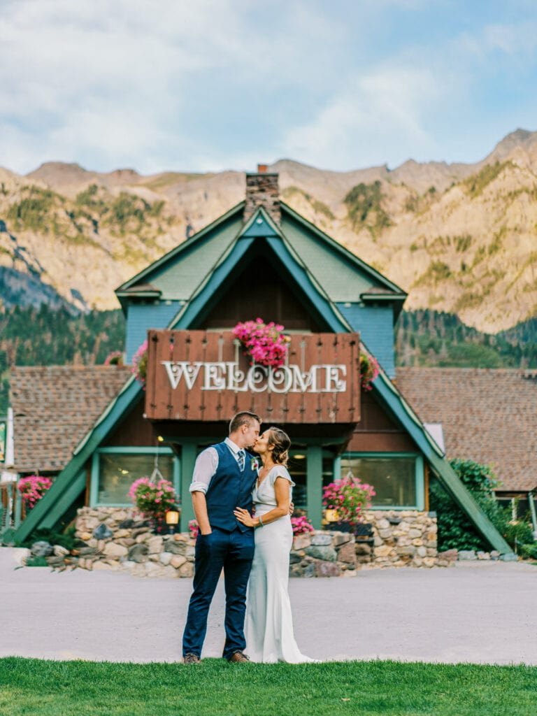 Bride and groom have a wedding at Twin Peaks Lodge in Ouray, Colorado.